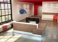 Inbox is a modern reception desk line that reflects a distinctly urban style. Leave a great impression on your guests by tailoring your office reception. Modern Reception Desk, Reception Desk Design, Reception Furniture, Reception Seating, Office Reception, Fixer Up, Commercial Office Furniture, Resource Furniture, Arredamento