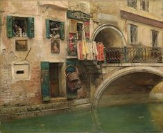 """Vincenzo Caprile - """"Canal in Venice"""", oil on canvas"""