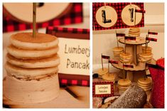 Food: Mini Lumberjack Pancakes  {via Piggy Bank Parties}
