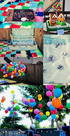Up themed birthday! Ellie Badges for favors, My Adventure Book for guests to sign, Balloon wall photo booth, house cake and giant balloon release at the end. #UP Birthday #Party #Theme Party
