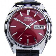 Seiko Actus Day Date Automatic Red Dial Vintage Mens Watch . - Seiko Actus Day Date Automatic Red Dial Vintage Mens Watch Features: Brand: Se - Big Watches, Seiko Watches, Luxury Watches, Cool Watches, Vintage Watches For Men, Best Watches For Men, Vintage Men, Amazing Watches, Beautiful Watches
