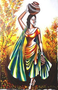 Home Bound - Portrait/Figures Acrylic Painting African Art Paintings, Dance Paintings, Modern Art Paintings, India Painting, Painting Of Girl, Poster Color Painting, Rajasthani Painting, Composition Painting, Indian Women Painting