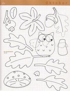 Fotó: Fall Crafts, Diy And Crafts, Paper Crafts, Felt Templates, Pattern Coloring Pages, Felt Patterns, Busy Book, Preschool Learning, Art Plastique