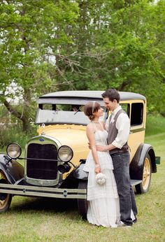 Vintage yellow getaway car for this Iowa farm wedding..