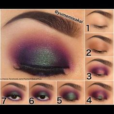 Tutorial - (Yumemisakai) Instagram 1. Primer 2. Naked by UD in the crease 3. Poison Plum on the inner & outer corner, connecting them in the crease 4. Wet Junebug pigment and apply to the center 5. Blend Junebug out 6. White pencil to the waterline and Velocity & Poison Plum to the lower lashline 7. Liner, mascara, lashes!