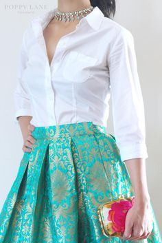 Brocade skirt and silk shirt blouse Brocade skirt and silk shirt blouse Stylish Dress Designs, Stylish Dresses, Fashion Dresses, Casual Dresses, Indian Designer Outfits, Indian Outfits, Designer Dresses, Indian Designers, Kurti Designs Party Wear