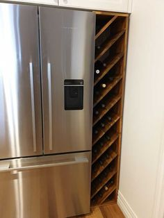 DIY wine rack to fill space next to fridge (updated) Post with 11397 views. DIY wine rack to fill space next to fridge (updated) Wine Shelves, Wine Storage, Crate Shelves, Record Storage, Refrigerator Organization, Home Organization, Wine Rack Inspiration, Wine Rack Plans, Build A Wine Rack
