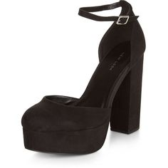 Black Pointed Platform Ankle Strap Heels (£28) ❤ liked on Polyvore featuring shoes, pumps, black, platform shoes, black platform pumps, black ankle strap pumps, pointed pumps and pointy pumps