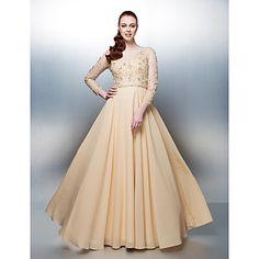 A-line Jewel Floor-length Chiffon Evening Dress (1798979) – USD $ 119.98