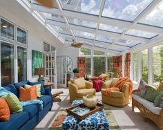 sunroom along back porch | Porch Design with Sunroom Decor Ideas : Attractive Traditional Porch ...