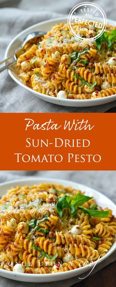This pasta with sun-dried tomato pesto and fresh mozzarella pearls is a new favorite. It's super easy, yields enough for two dinners (and freezes well) and the dish is just as good at room temperature as it is hot, so it can double as a pasta salad for a picnic or barbecue. To complete the meal, toss a quick arugula salad and warm some good bread. Or, for meat lovers, brown Italian sausages to serve alongside. #pasta #italian #pesto #dinner #sides #makeahead #easydinner #quickmeals