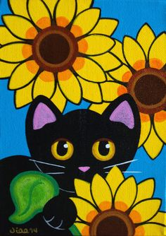 SUNFLOWERS & Purrs Original 5 x 7 Folk Art Black CAT by thatsmycat, $35.00