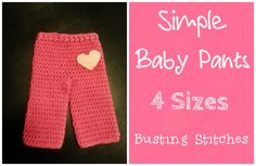 Simple Baby Pants Fan Request Friday! The pattern below can be viewed for FREE or you can purchase the PDF for $1 Materials: Red Heart Super Saver Yarn Needle Size I 5.5 mm hook Felt Abbreviations: Sl st- Slip Stitch Ch- Chain Sc- Single Crochet Hdc- Half Double Crochet FpHdc- Front Post Half Double Crochet BpHdc- Back Post Half Double …