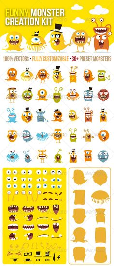 Funny Monster Creation Kit creation kit of funny monster.You can use it to create hundreds of cute monsters easily for web&print advertisements DIY yellow monsters: Monster Characters, Cute Characters, Cartoon Characters, Character Creation, Game Character, Character Design, Funny Cartoons For Kids, Cartoon Kids, Illustration Arte