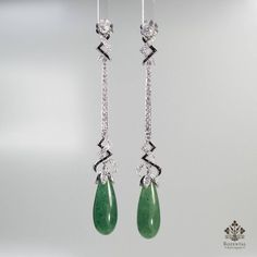 ANTIQUE ART DECO PLATINUM DIAMOND - ONYX & JADE EARRINGS