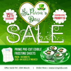 """Purchase Prime Pre-cut #EdibleFrostingSheets (Pack Of 24 Sheets, A4 Sizes - 2.5 """"Inches) online at #Icinginks and Get 15% #Discount Offer while using #CouponCode PADDY 15. Hurry Up Now! Avail The St. Patrick's Day offer unto March 19, 2018."""