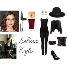 Selina Kyle Inspired Outfit #1 by iambeyondnormal2812 on Polyvore featuring polyvore, fashion, style, Splendid, Red Haute, Topshop, Michael Antonio, Armani Exchange, Carolee, Yves Saint Laurent, Lipstick Queen, shu uemura and SELINA