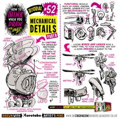 "etheringtonbrothers: ""Here's PART TWO of how to THINK When you draw MECHANICAL DETAILS. I'll be going into more detail on specific elements of mechanical design in upcoming tutorials. All the art. 3d Drawing Techniques, Drawing Skills, Drawing Lessons, Drawing Tips, Drawing Reference, Robots Drawing, Comic Drawing, 3d Drawings, Cartoon Drawings"