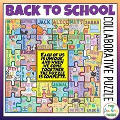 Start off the Back to School season in style with this dynamic, engaging Getting To Know You Collaborative activity - great for the first day of school Get To Know You Activities, All About Me Activities, First Day Of School Activities, Puzzle Quotes, All About Me Poster, Puzzles, Back To School Bulletin Boards, Social Studies Classroom, School Community