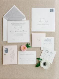 Meggie and Bill's stunning Southern stationery suite featured blush envelopes, dove grey liners, and gray letterpress and calligraphy. | as featured in @charlestonweddings | photo: @lucycuneo | design: @calderclark | florals: @blossomsevents | #bouquet #weddingbouquet #southernwedding #luxurywedding