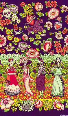 Folklorico - Frida la Catrina - Dk Aubergine - by DeLeon Design Group for Alexander Henry