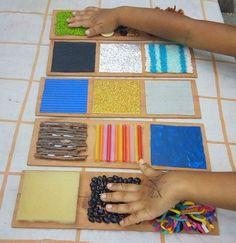 Make matching sensory cards Montessori Materials, Montessori Activities, Motor Activities, Infant Activities, Activities For Kids, Crafts For Kids, Sensory Rooms, Baby Sensory, Sensory Play