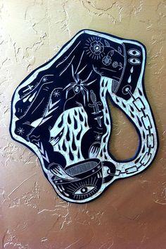 Tattoo Woodcuts by Bryn Perrott Tatuaje Old School, Modern Tattoos, Flash Art, Linocut Prints, Body Mods, Tattoo Sketches, Traditional Tattoo, Printmaking, Illustration Art