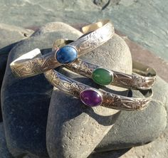 Floral pattern sterling silver cuff bracelet with amethyst, denim lapis or aventurine gemstone