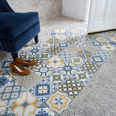 Invite some Moroccan charm into your interiors with these Louane Tiles. A colourful patchwork of Mediterranean patterns, they are ideal for a statement floor. Patchwork Patterns, Tile Patterns, Patio Tiles, Loft Bathroom, Adhesive Tiles, House Tiles, Underfloor Heating, Floor Space, Flooring