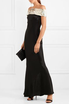 0cd58b7899f74 Giorgio Armani - Embellished Off-the-shoulder Silk-blend Satin Gown - Black