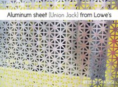 """It's a 24x36"""" decorative aluminum sheet {in Union Jack pattern.} It was love at first sight. With a name like """"Union Jack"""" how could I not ..."""