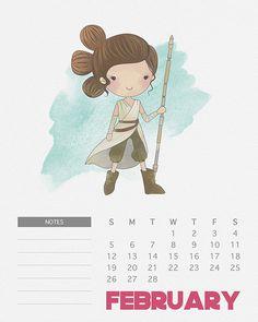 Libre para imprimir 2.017 acuarela Star Wars Calendario - El Mercado Cottage
