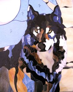 Stained Glass Wolf - My Lonely Blue Wolf before he was foiled and soldered.  Love this stage.  Maybe I'd like doing mosaics.