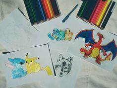 My drawing ✏ #pikachu #stitch #pikachuandstitch #pokemon #liloandstitch #charizard #squirtle #bulbasaur #charmander #dragon #turtle #water #earth #fire #fairytail #pocketmonsters #animeart #kawaii #cute #wolf #deadpool #draw #drawing #art #paper #painting #blackandwhite #colour #yellowandblue #blueandorange