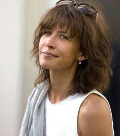 Hairstyles With Bangs, Cool Hairstyles, Medium Hair Styles, Curly Hair Styles, Sophie Marceau Photos, Medium Shag Haircuts, French Actress, Hot Brunette, Grunge Hair