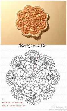 Crochet Coaster Pattern, Crochet Motif Patterns, Crochet Diagram, Crochet Chart, Crochet Squares, Thread Crochet, Crochet Designs, Crochet Doilies, Crochet Flowers