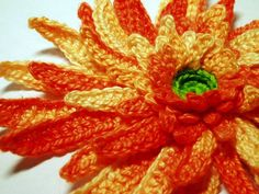 Orange Gerbera crochet flower is done and posted with instructions at http://melibondre.com/blog/?p=4160. I love this multicolored orange yarn :-).