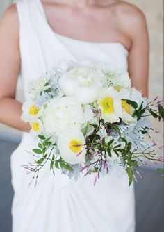 beautiful white bouquet by Pollen Floral Art, photographed by Jesse Ryan