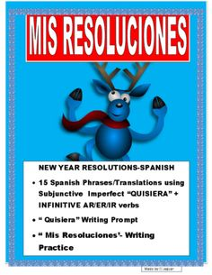 "New Years Resolutions in Spanish-""Quisiera"" + AR/ER/IR Verbs Practice from mherterma from mherterma on TeachersNotebook.com (6 pages)  - This wonderful and exciting lesson was designed to practice Subjunctive statements using ""Quisiera"" infinitive AR/ER/IR verbs. Great project for the Holidays after Winter break."