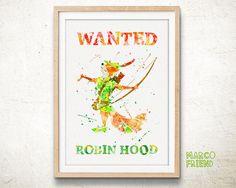 Disney Robin Hood Wanted - Watercolor, Art Print, Kids Wall Art, Watercolor Print, Disney Poster