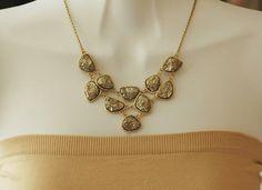 Gold Druzy Link Necklace Bib Necklace Statement by stylelovers, $19.00