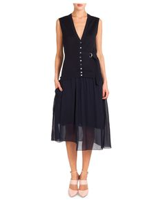 Nina Ricci Sleeveless Button-Front Dress W/ D-Ring Daytime Dresses, Day Dresses, Casual Dresses, Dresses For Work, Formal Dresses, Next Clothes, Clothes For Women, Low V Neck Dress, Blue Chiffon Dresses