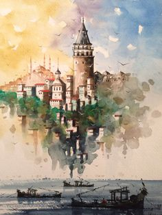 Ah Istanbul! Watercolor Canvas, Watercolor Paintings, Watercolor Architecture, Turkish Art, Urban Sketching, Islamic Art, Watercolor Illustration, Art Oil, Art Inspo