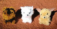 Pom Pom puppies Pom Pom Puppies, Pom Dog, Dog Crafts, Yarn Crafts, Large Pom Poms, Pom Pom Crafts, Dog Ornaments, Lana, Projects To Try