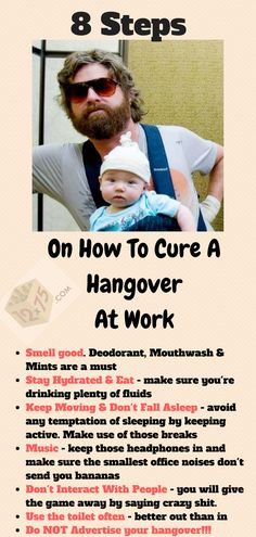 8 Steps On How To Cure A Hangover - Have you ever got to work extremely hungover? If so I applaud you - but don't worry, as hellish as the day will be - we've got you covered. Discover the 8 steps on how to deal with a hangover. Hangover Tips, Hangover Cures, Stay Hydrated, Mouthwash, Smell Good, Don't Worry, Deodorant, How To Fall Asleep, No Worries