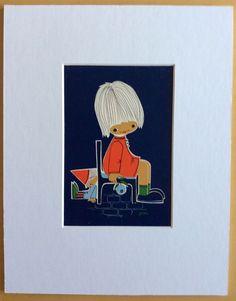 Jaklien Moerman Retro Postcard mounted and ready to frame Take A Seat