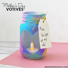 Mother's Day Mason Jar Votives - I Heart Arts n Crafts