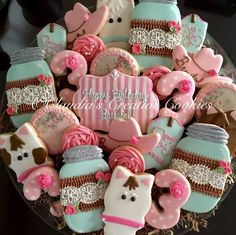 Vintage, shabby chic western birthday cookies. Horses, cowboy hats, boots, lace and flowers!
