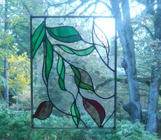 Shimmering Leaves Stained Glass Panel by begeddovstainedglass on Etsy https://www.etsy.com/listing/32970597/shimmering-leaves-stained-glass-panel