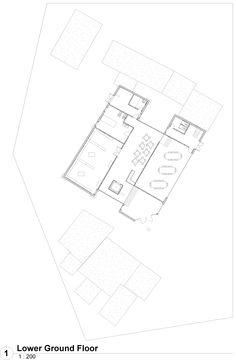 Ground floor plan for 'Berwick' press. Main idea of a symmetrical form with an asymmetrical purpose.